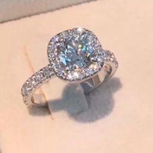 Jewelry - Princess Cut Halo Diamond Engagement Ring